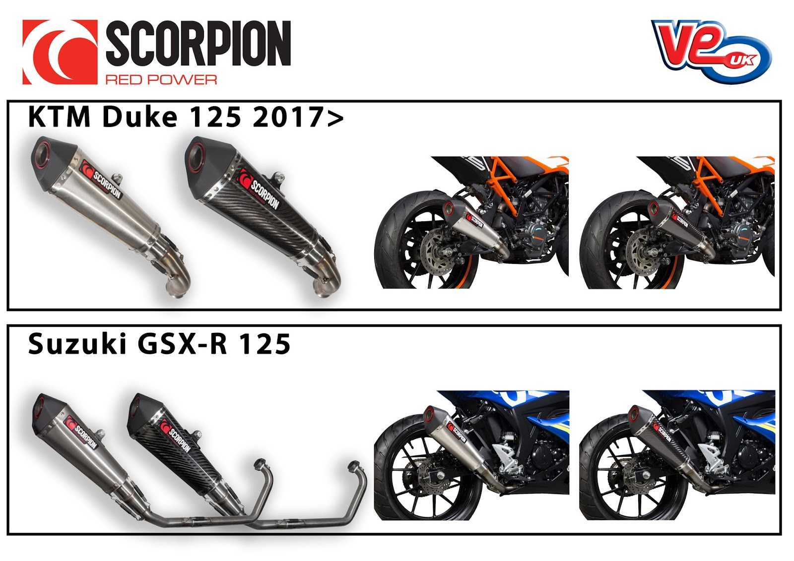 KTM Duke 125 & Suzuki GSX-R 125 Scorpion Exhausts