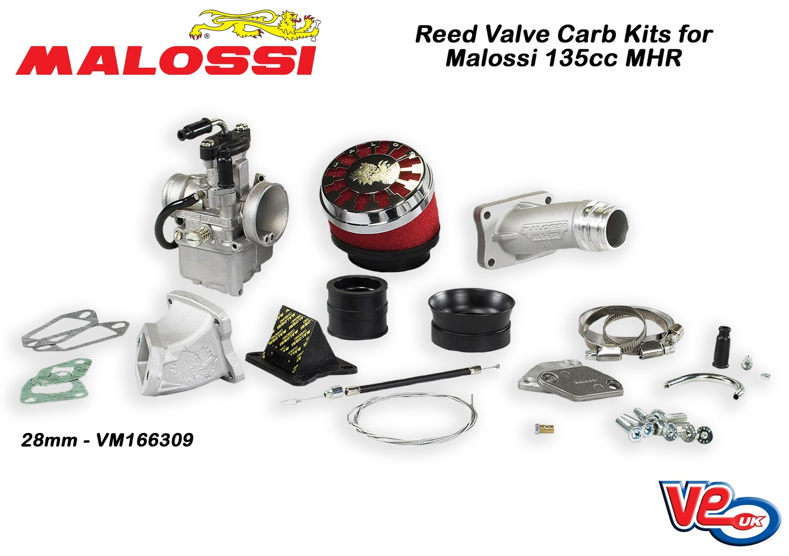 Malossi Reed Valve Carb Kits for 135 MHR
