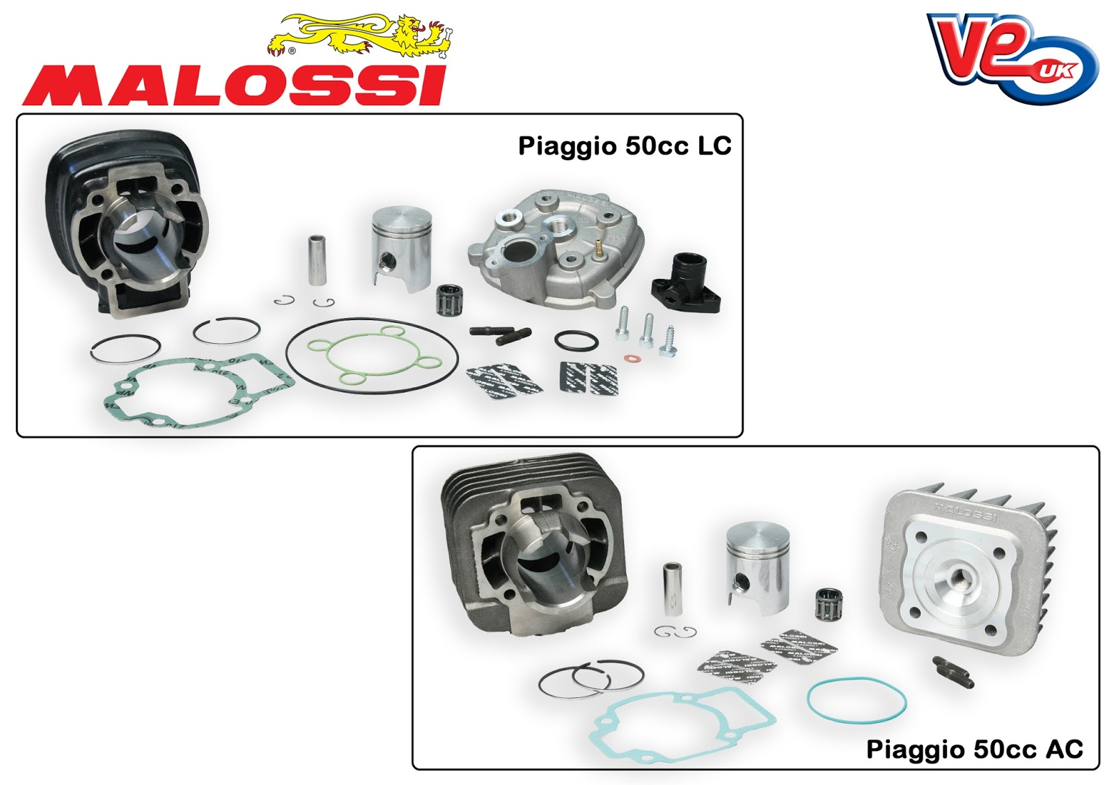 Malossi 50cc Cylinder Kits for Piaggio 2T Scooters