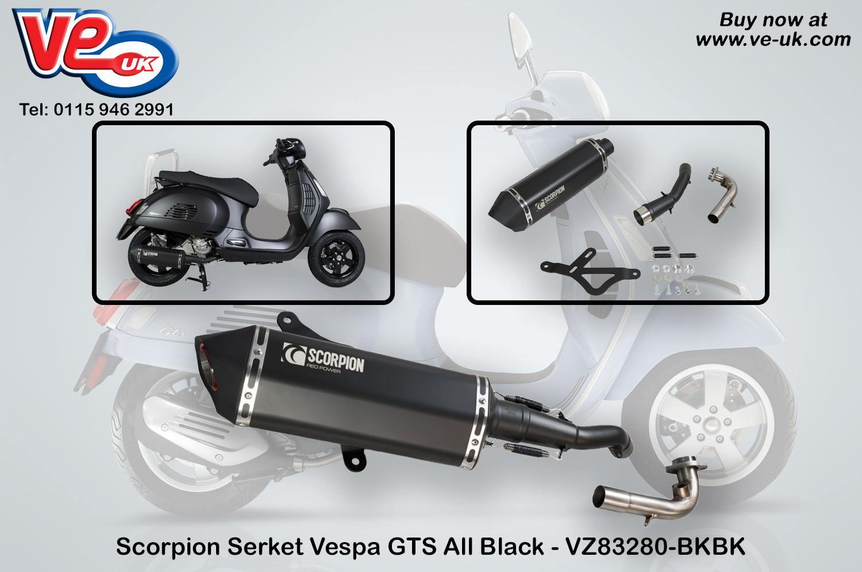 Scorpion Serket All Black Exhaust For Vespa Gts Ve Vespa Lambretta