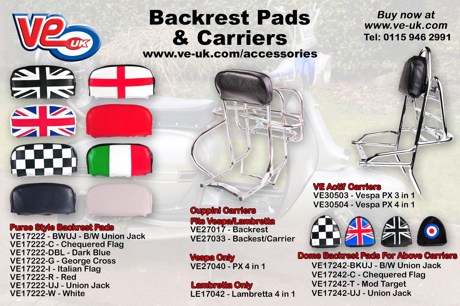 Back rest pads - carriers