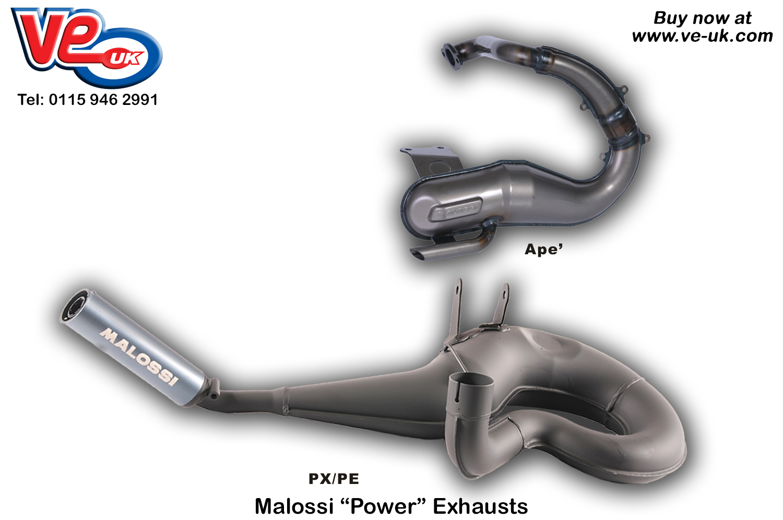Malossi Power Exhausts – VE Vespa Lambretta Piaggio